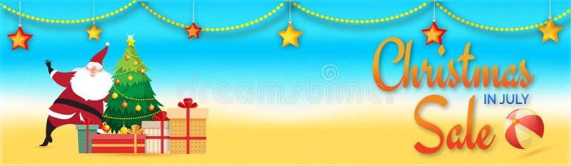 Boże Narodzenia w Lipiec sprzedaży, sieć chodnikowu lub sztandaru projekcie z Santa C, royalty ilustracja
