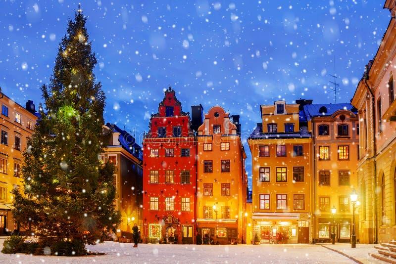 Boże Narodzenia w nocy Sztokholm, Szwecja obraz royalty free