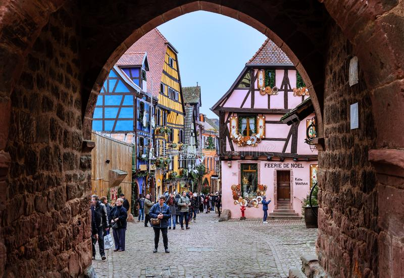 Boże Narodzenia w Riquewihr, Alsace fotografia stock
