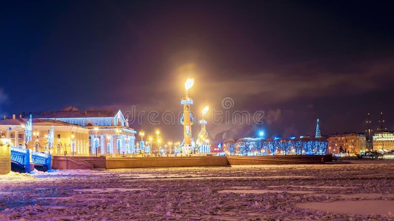 Boże Narodzenia w St Petersburg Mierzeja Vasilyevsky wyspa zdjęcia royalty free