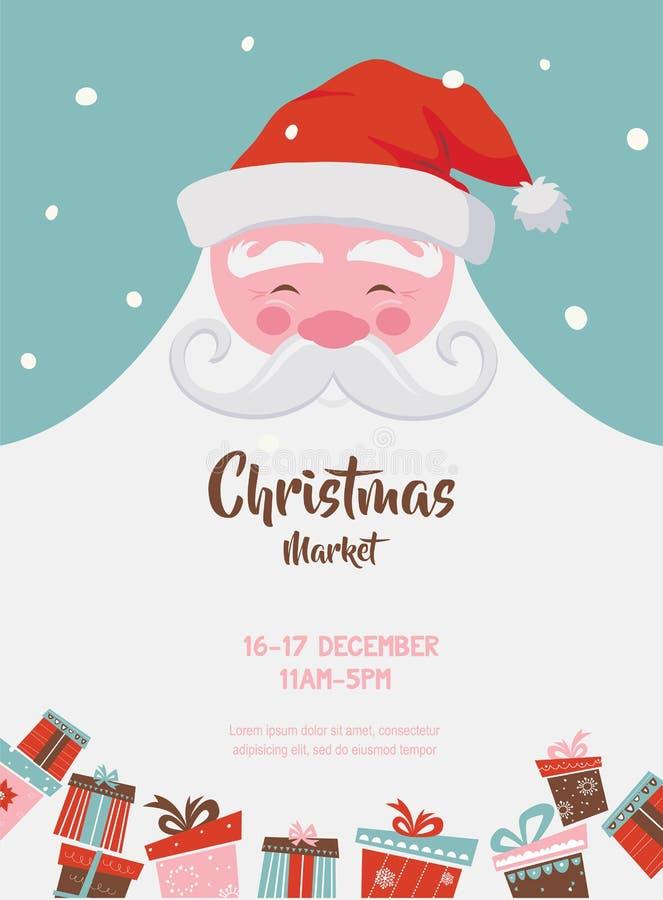 Boże Narodzenia wprowadzać na rynek plakat z Santa i teraźniejszość również zwrócić corel ilustracji wektora ilustracji