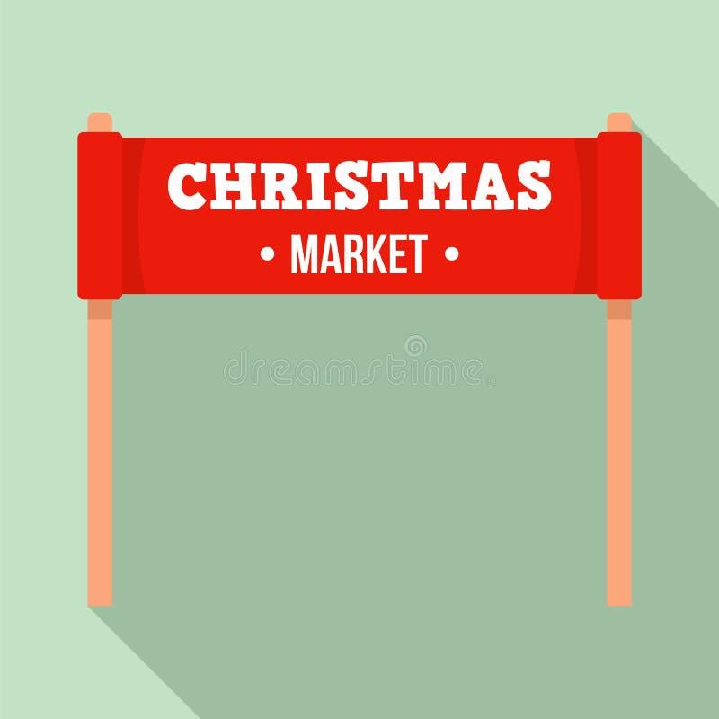 Boże Narodzenia wprowadzać na rynek sztandar ikonę, mieszkanie styl ilustracji