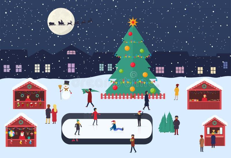 Boże Narodzenia wprowadzać na rynek z ludźmi, pamiątkarskimi kramami, lodowym lodowiskiem i choinką na wieczór miasta kwadracie,  royalty ilustracja