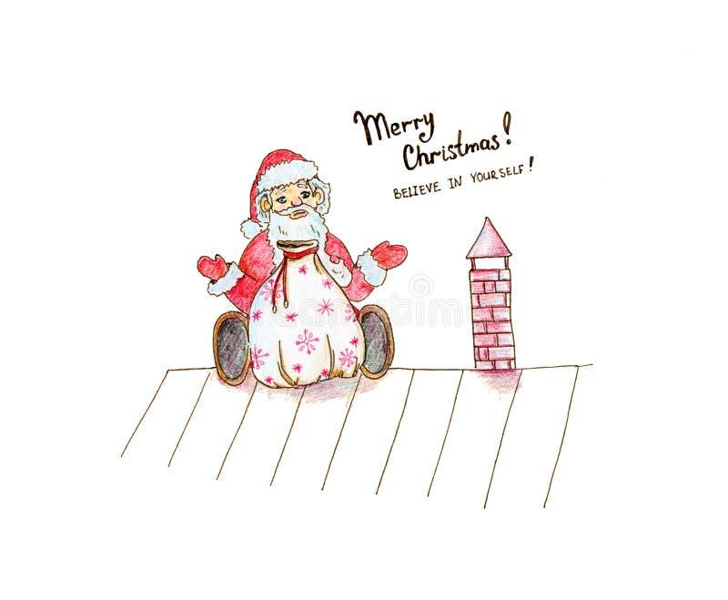 Boże Narodzenia wręczają patroszoną ilustrację o śmiesznej kreskówce siedzi Święty Mikołaj ilustracji