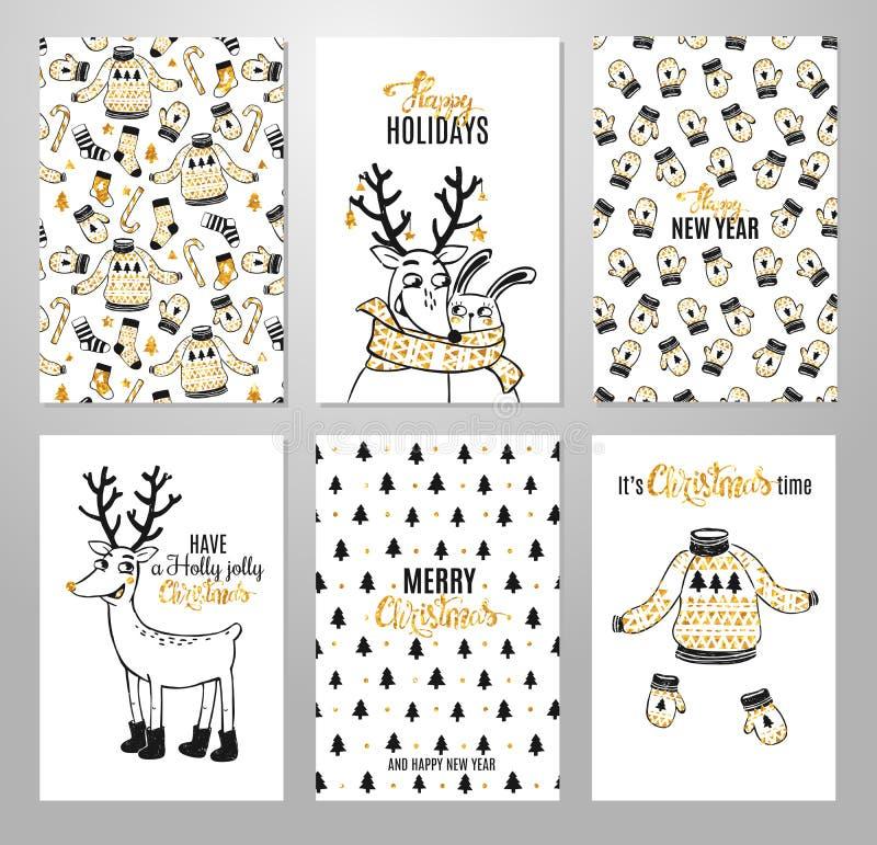 Boże Narodzenia wręczają patroszone printable karty ilustracja wektor