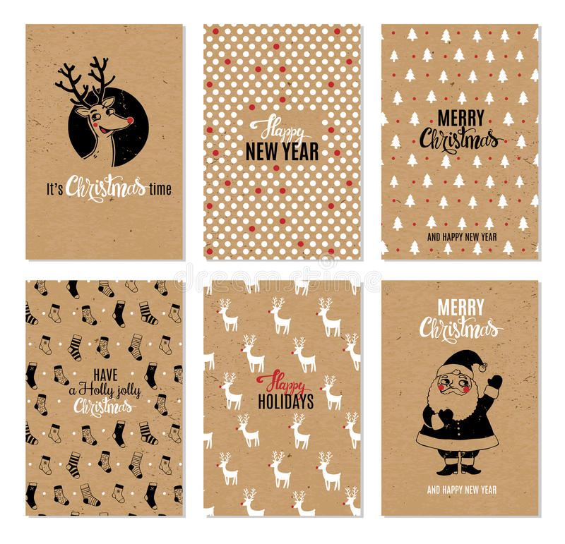 Boże Narodzenia wręczają patroszone wektorowe printable karty zdjęcie royalty free