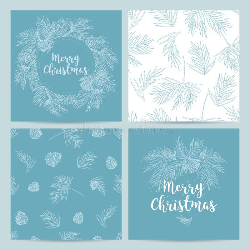 Boże Narodzenia wręczają patroszonego karta set również zwrócić corel ilustracji wektora ilustracja wektor