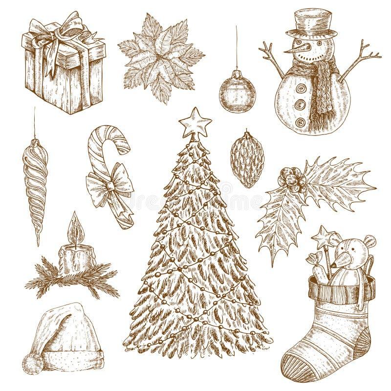 Boże Narodzenia Wręczają Patroszonych elementy Ustawiających royalty ilustracja