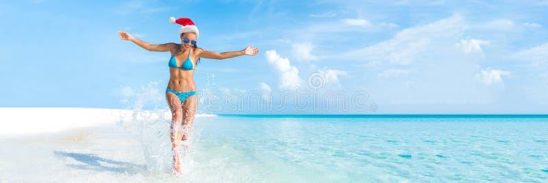 Boże Narodzenia wyrzucać na brzeg wakacyjną podróż sztandaru panoramę zdjęcie stock