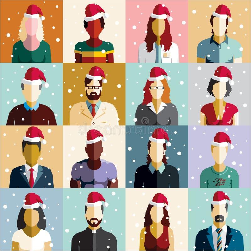 Boże Narodzenia zaludniają bezszwowego tło więcej toreb, Świąt oszronieją Klaus Santa niebo Santa kapelusz ilustracja wektor