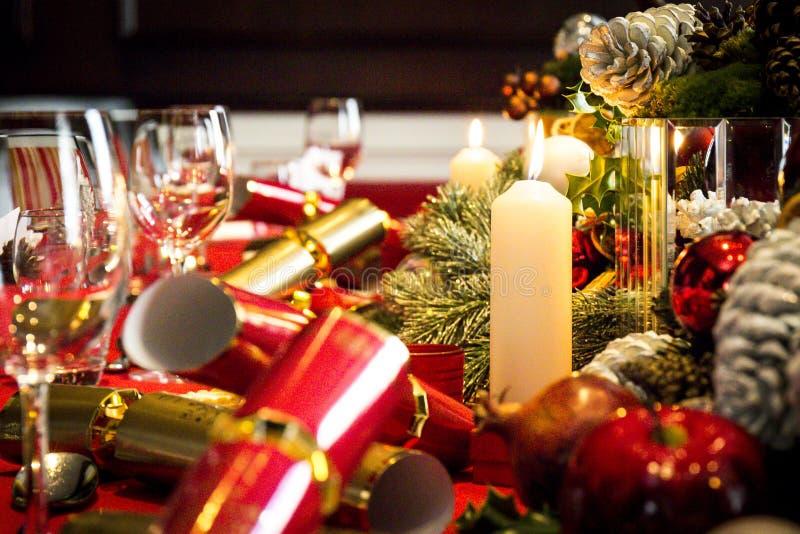 Boże Narodzenia zgłaszają set dla lunchu fotografia stock