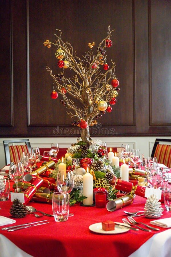 Boże Narodzenia zgłaszają set dla lunchu zdjęcia stock