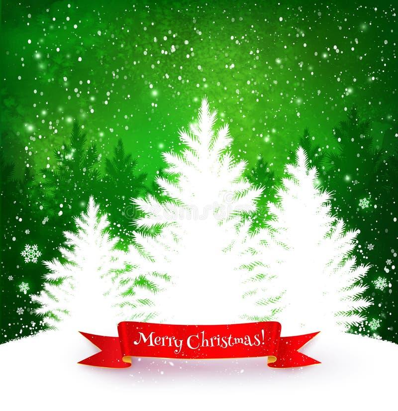 Boże Narodzenia zieleni i biały tło ilustracji