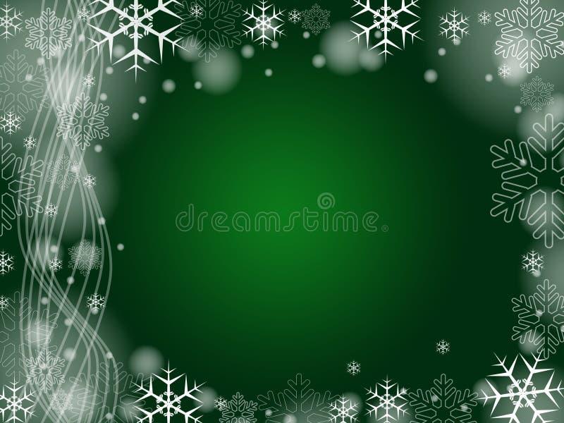 boże narodzenia zielenieją płatek śniegu ilustracji