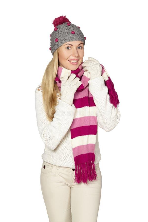 Boże Narodzenia, zima, piękna kobieta w zima kapeluszu obrazy royalty free