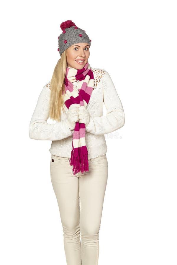 Boże Narodzenia, zima, piękna kobieta w zima kapeluszu zdjęcie royalty free