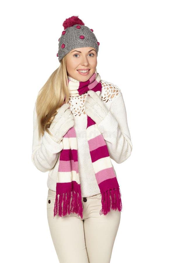 Boże Narodzenia, zima, piękna kobieta w zima kapeluszu zdjęcia stock