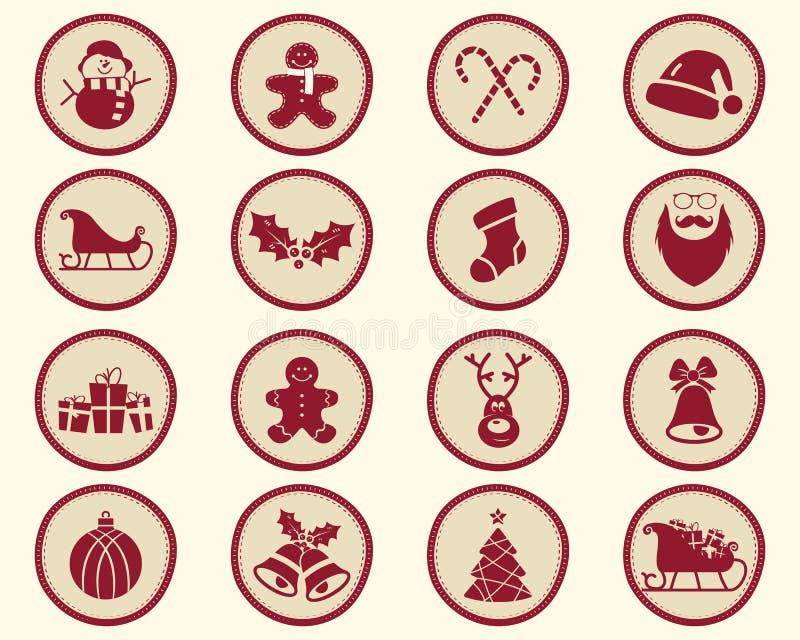 Boże Narodzenia, zimy odznaka i projektów elementy, ilustracja wektor