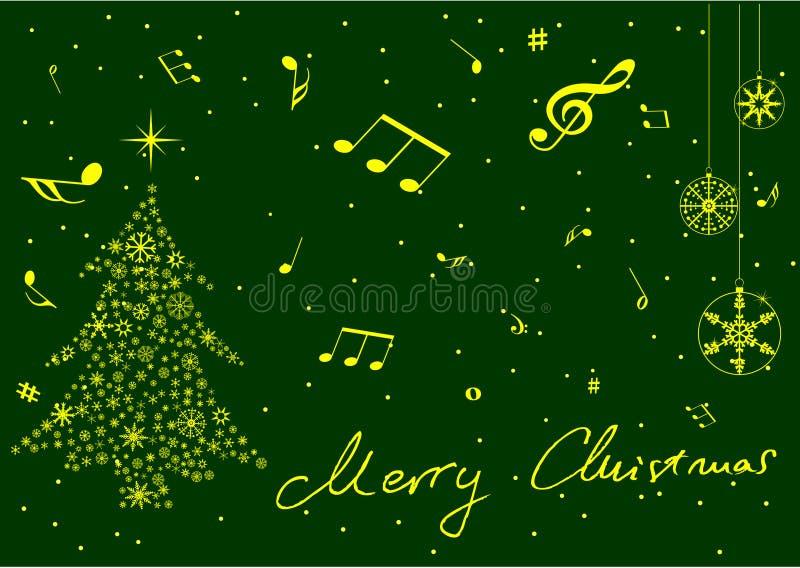 boże narodzenia zrobili muzyki notatek gwiazdom drzewny royalty ilustracja