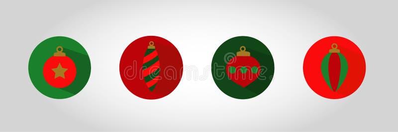 Boże Narodzenie bąbla ikony set fotografia royalty free