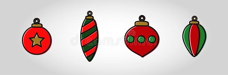 Boże Narodzenie bąbla ikony set obraz stock