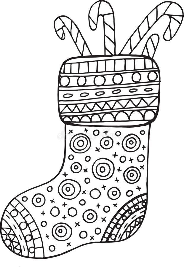 Boże Narodzenie buta kolorystyki strona dla dorosłych i dzieciaków wektor ilustracja wektor