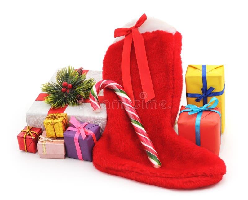 Boże Narodzenie buty z prezentami obrazy stock