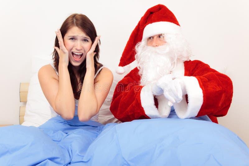 Boże Narodzenie chwyty Mimo to Inna kobieta Nieprzygotowani obraz royalty free