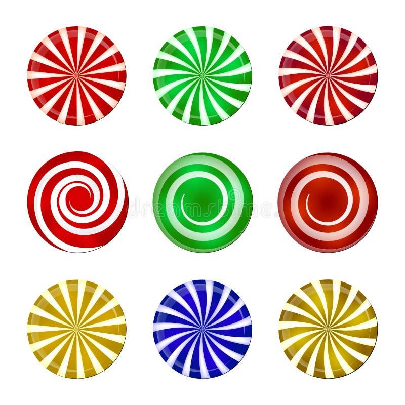 Boże Narodzenie cukierku pasiasty set Ślimakowaty cukierki mennicy przysmak z lampasami Wektorowa ilustracja na białym tle ilustracja wektor