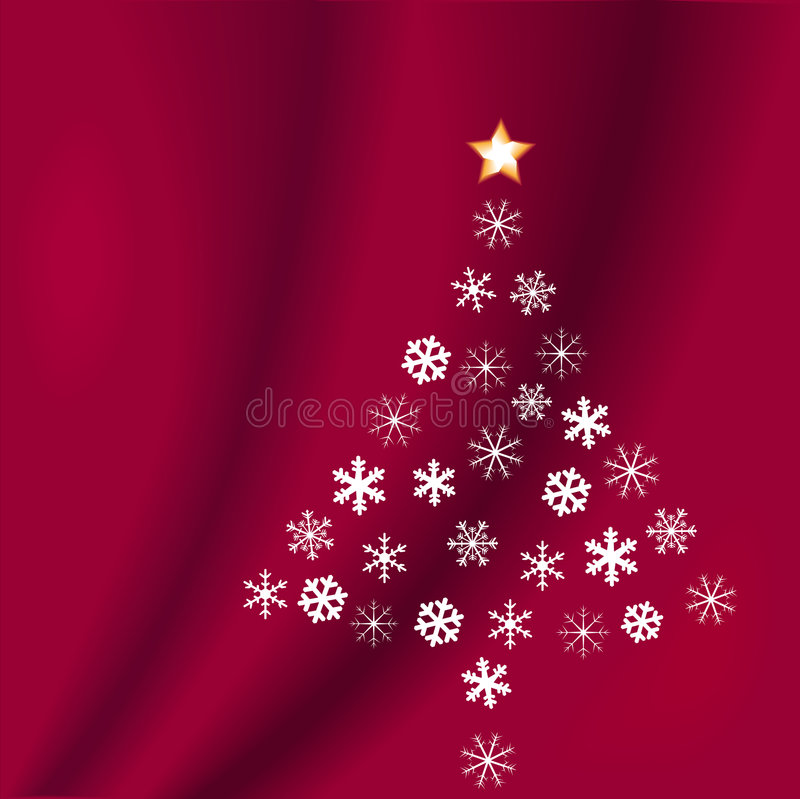 boże narodzenie czerwone płatki śniegu tree ilustracji