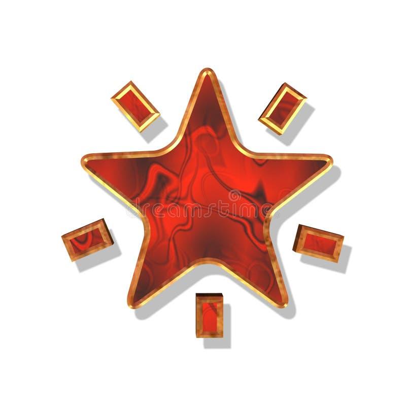 boże narodzenie czerwonego złota gwiazda ilustracja wektor