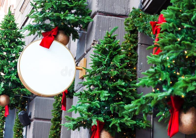 Boże Narodzenie dekorujący pusty signage mockup fotografia stock