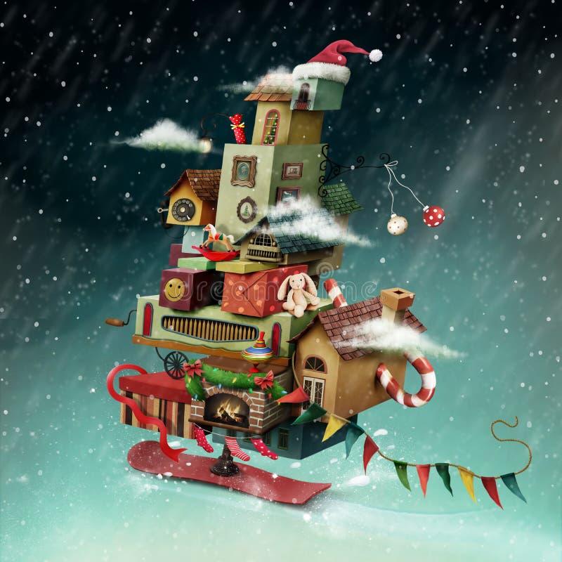 Boże Narodzenie dom ilustracja wektor