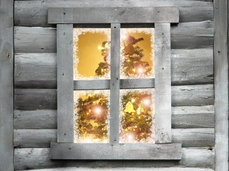 boże narodzenie drewniane okna loży drzewny obraz royalty free