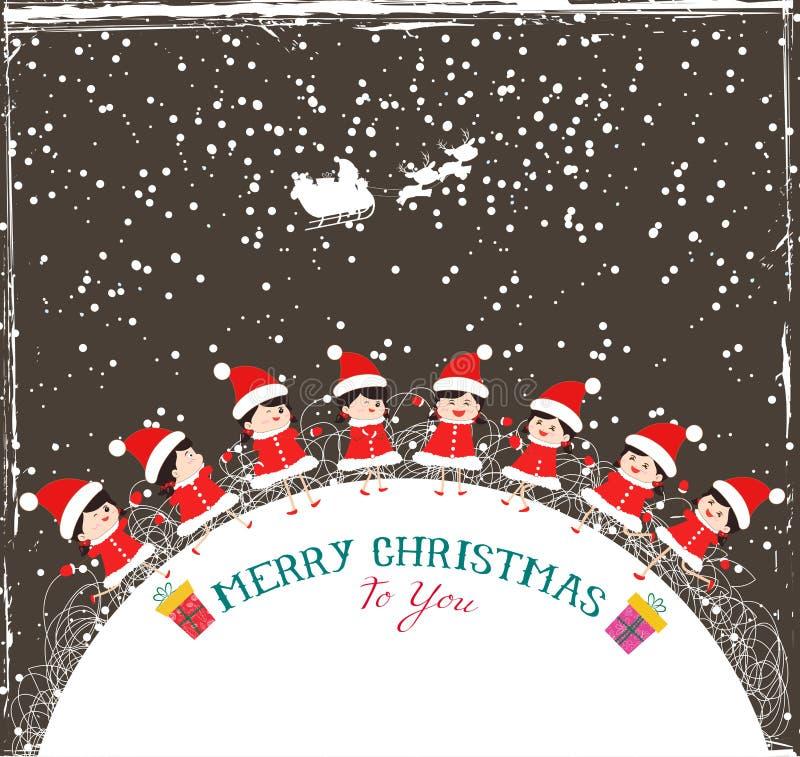 Boże Narodzenie dzieciaków tła dzieci w okrąg zimie ilustracji