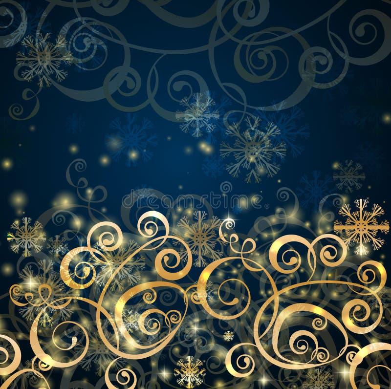 Boże Narodzenie elegancki zmrok - błękit z złocistym tłem royalty ilustracja