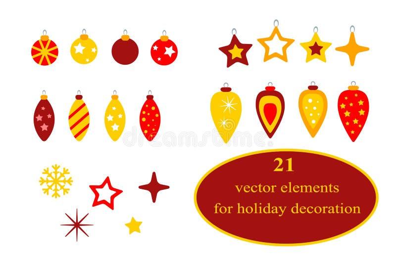 boże narodzenie elementy inkasowi dekoracyjni Set 21 element Wektorowy płaski wakacyjny majcheru projekt w czerwieni i koloru żół ilustracji