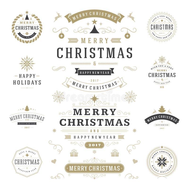 Boże Narodzenie etykietki i odznaka projekta Wektorowi elementy Ustawiający ilustracja wektor