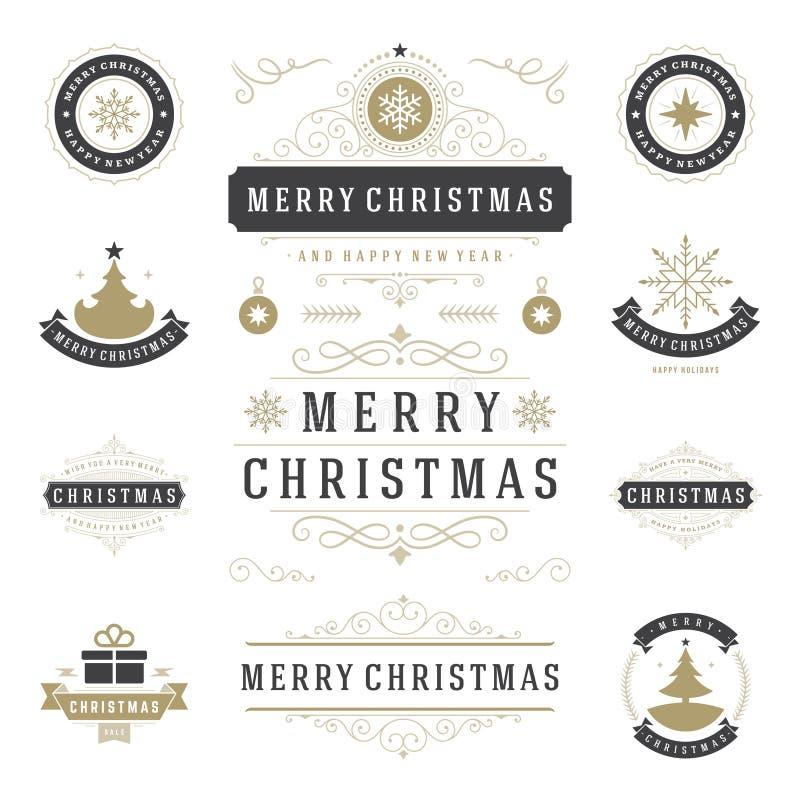 Boże Narodzenie etykietki i odznaka projekta Wektorowi elementy Ustawiający ilustracji