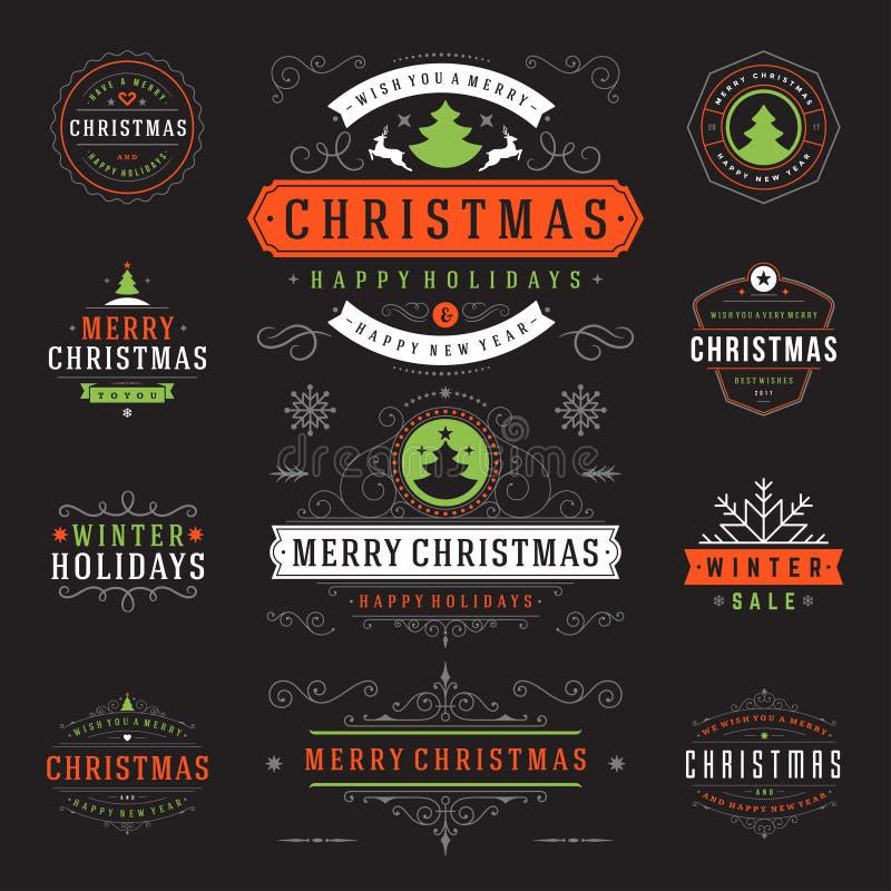 Boże Narodzenie etykietki i odznaka projekta Wektorowi elementy Ustawiający royalty ilustracja