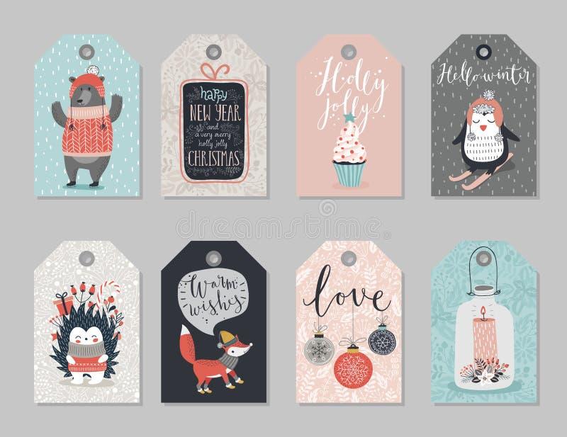 Boże Narodzenie etykietki ustawiać, ręka rysujący styl ilustracji