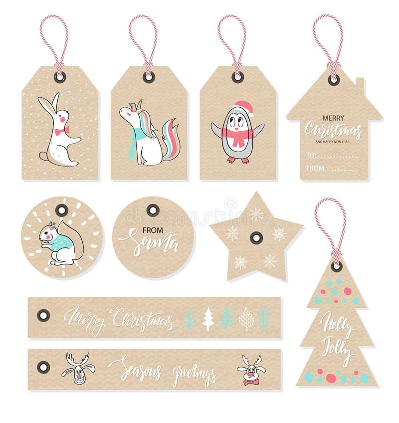 Boże Narodzenie etykietki ustawiać z ślicznymi zwierzętami, ręka rysujący styl również zwrócić corel ilustracji wektora royalty ilustracja