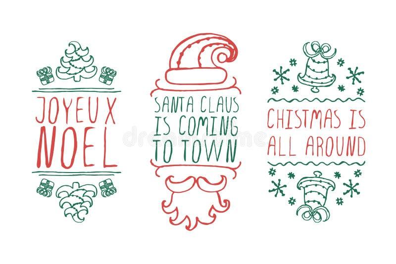 Boże Narodzenie etykietki z tekstem na białym tle ilustracji
