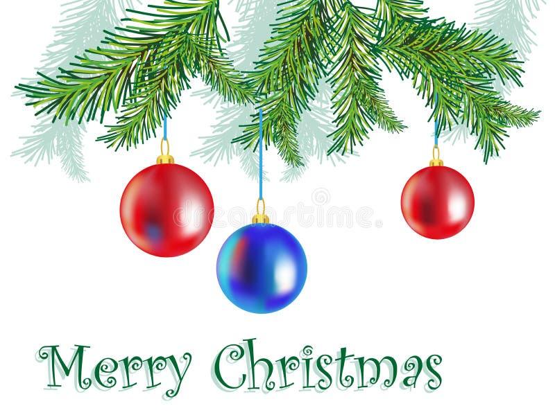Boże Narodzenie gałąź i zabawki ilustracji