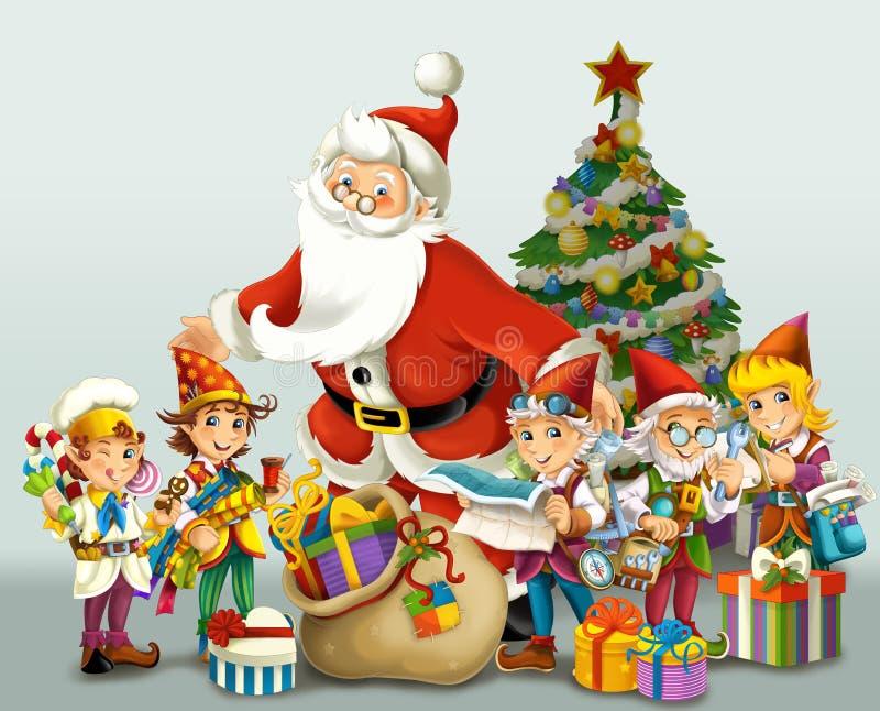 Boże Narodzenie gnom ilustracja dla dzieci - drawrf - royalty ilustracja