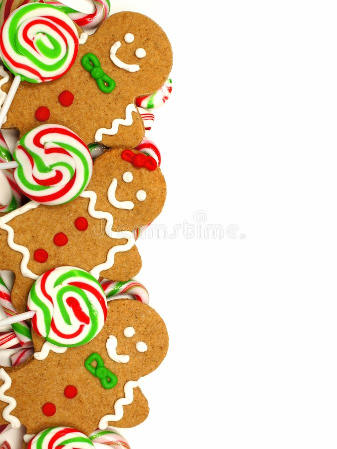 Boże Narodzenie granica piernikowi mężczyzna i cukierki obrazy stock