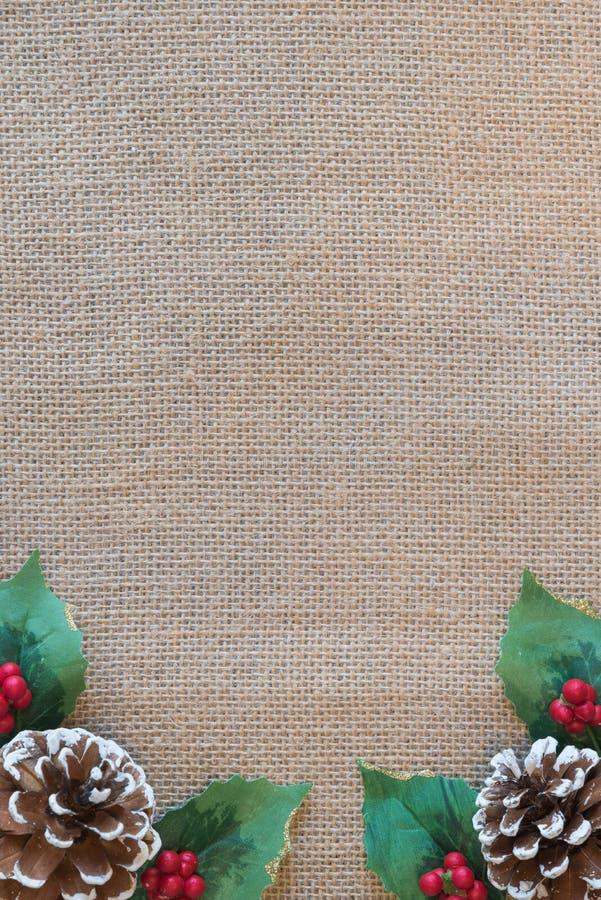 Boże Narodzenie granica pinecones, czerwone jagody i holly liście z nieociosanym tkaniny tłem, zdjęcie stock