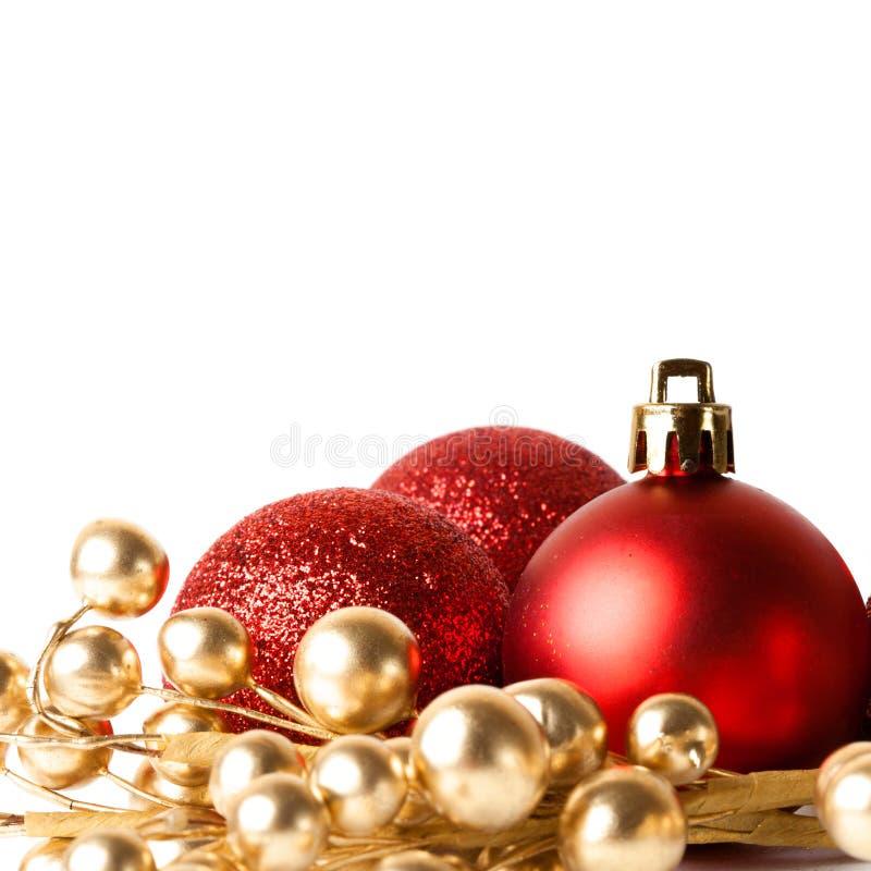 Boże Narodzenie granica z czerwonym ornamentem obraz stock