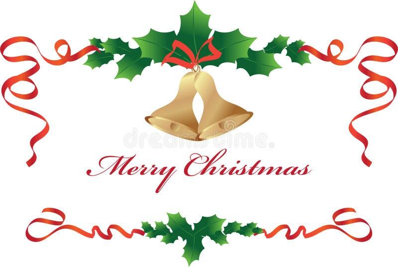Boże Narodzenie granica z dzwonami ilustracja wektor