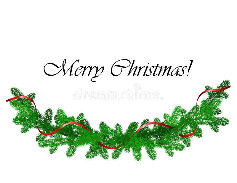 Boże Narodzenie granica z sosnowym i czerwonym faborkiem royalty ilustracja